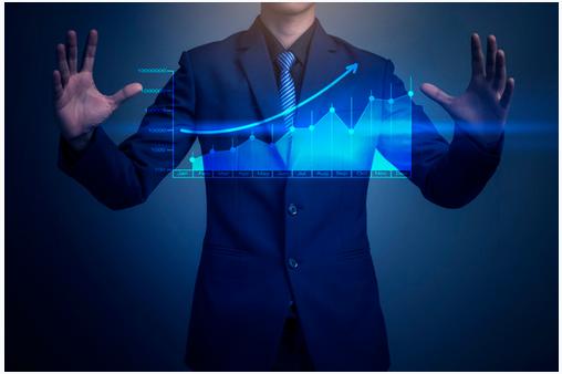 Dividend stock investor in blue background
