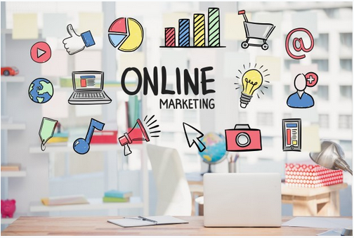A photo showing different elements of online marketing as a business growth strategy